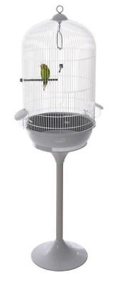 **NEW** Round Budgie, Canary, Finch, Medium Bird Cage With White Stand