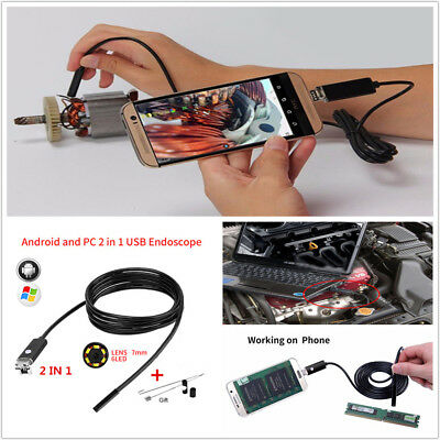 Endoscope 7MM Lens 5M HD USB Android PC 2 in 1 Car Inspection Camera Scope Cable