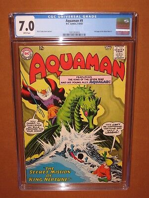 Aquaman #9  CGC 7.0  (it looks better!) WHITE pages! 1963 12 HDpix Ships INSURED