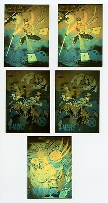 Marvel X-Men Series 1 1992 Impel Lot of 5 Hologram Cards XH1 XH3 XH5 Wolverine