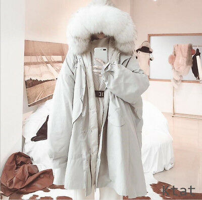 Vogue Women Real 100% White Duck Down Coat Genuine Fur Mink Loose Parka Hooded
