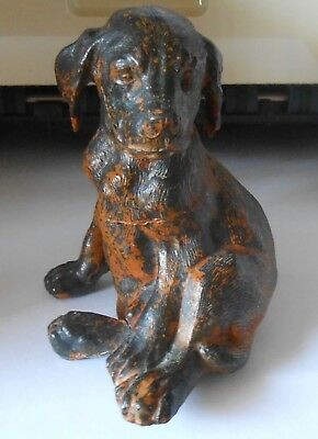 Antique Cast Iron Sitting Labrador Paperweight