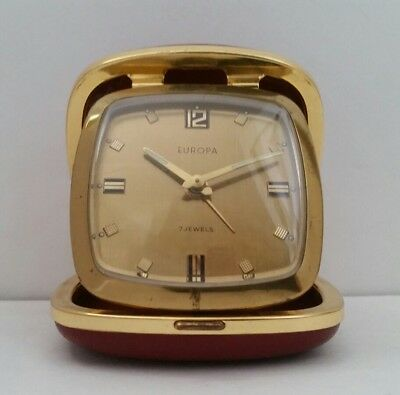 Vintage EUROPA ~ 7 JEWEL ~ TRAVELING ALARM CLOCK ~Red Leather Case~GERMANY