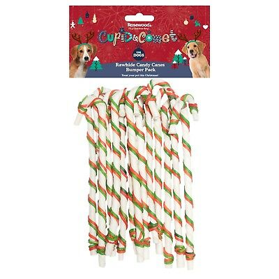 "Rosewood Cupid & Comet Christmas Festive Dog Treats - 8"" Rawhide Candy Canes Bum"