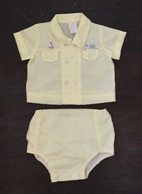 Vintage Baby Boy Yellow Outfit Shirt Diaper Cover Vinyl Sailboat Puppy 0-3M Doll
