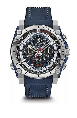 Bulova 98B315 Precisionist Mens 46mm Blue Watch 300m Chronograph BRAND NEW 2018
