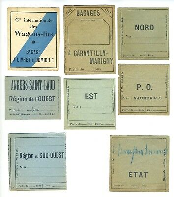 FRENCH Railway Labels (12) - 1930s - Including Cie. Intl. des Wagon Lits