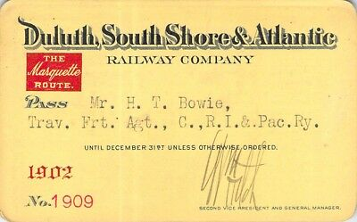 1902 Duluth South Shore Atlantic Marquette Route Railroad Railway Rr Rwy Pass