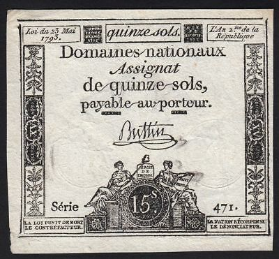 1793 15 Sols France French Revolution Very Rare Antique Money Currency Banknote