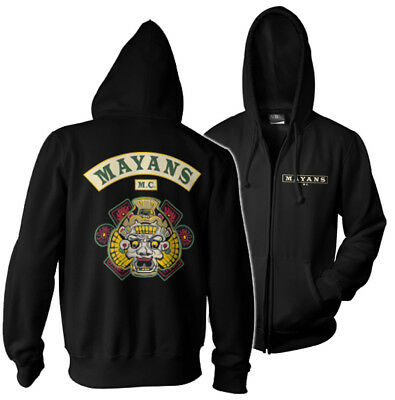Official Licensed Mayans M.C - Sons of Anarchy Zipped Hoodie S-XXL Sizes (Black)