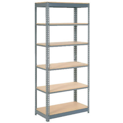 "Boltless Heavy Duty Shelving 36""W x 18""D x 72""H, 6 Shelves, Wood Deck, Lot of 1"