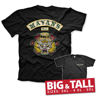 Official Licensed Mayans M.C. Backpatch Men's Big Tall 3xl,4xl,5xl T-Shirt Black