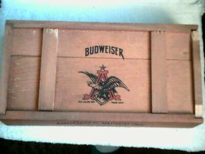 Vintage Anheuser-Busch Budweiser Wood Poker Box + Saddam sealed cards