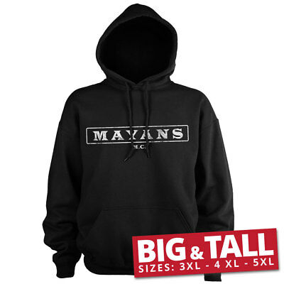 Official Licensed Mayans M.C Washed Logo Hoodie Big & Tall 3XL,4XL,5XL (Black)