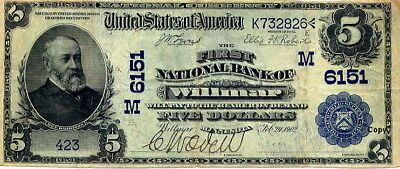 1902 $5 National Currency Willmar Minnesota Ben Harrison ~~Reproduction~~