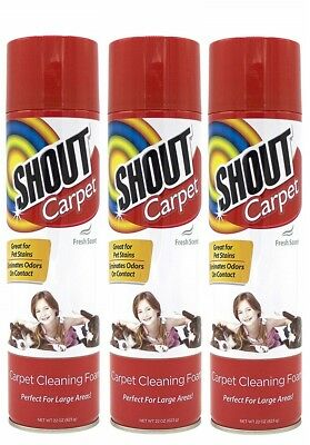 3 Shout Carpet Cleaning Foam Perfect For Large Area Fresh Scent Pet Stains 22 oz