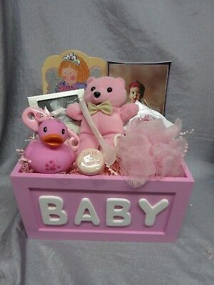 Pink Baby Girl Gift Basket- Teddy Bear Rattle, Pouf, Duck,frame, Pacifier, Book