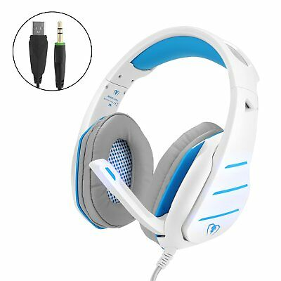 White Wired Pro Gaming Headset for PS4 Xbox One PC With Mic LED  Volume Control