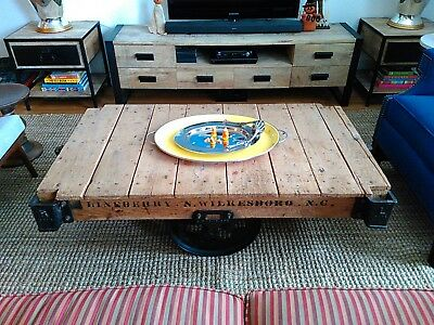 """52""""L Industrial Antique Lineberry factory cart coffee table red oak cast iron"""