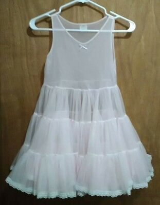 Girls Vintage Full Slip Tulle Layered Petticoat Size 8 Dadeese Lil Princess Pink