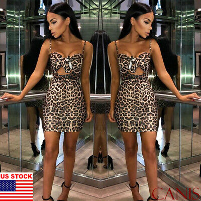 Women Bandage Leopard Bodycon Evening Party Club Cocktail Sexy Midi Mini Dress