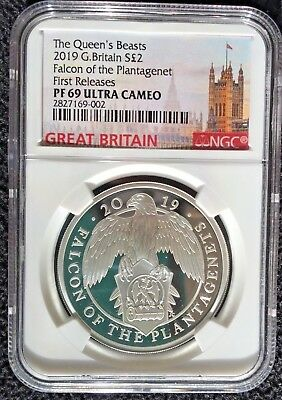 2019 Great Britain S£2 Queen's Beasts FALCON o/t PLANTAGENET Silver 1oz PF69UC