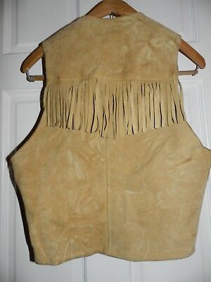 VTG 60s SUEDE LEATHER FRINGED BUCKSKIN VEST COWBOY HIPPIE FESTIVAL SMALL