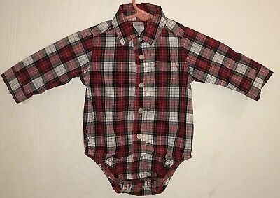 Carter's Baby Boy's Sz 3M Button Down Shirt Red/Black Plaid White Buttons Cotton