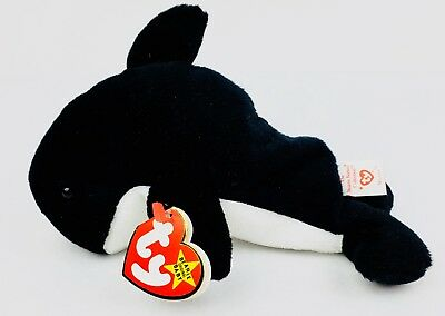 Waves the Whale Ty Beanie Baby Retired Tags Orca Killer Whale Plush