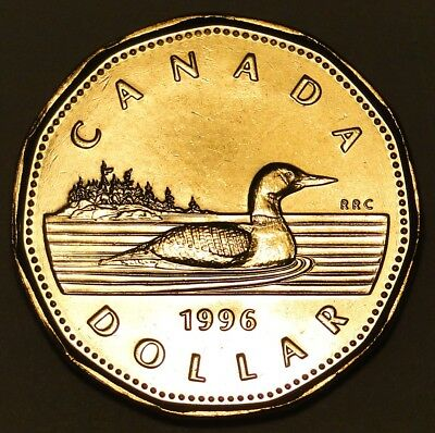 BU UNC Canada 1996 regular loonie $1 dollar coin from mint roll