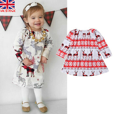 UK Kids Baby Girls Xmas Long Sleeve Christmas Deer Print Princess Dress Age 1-6Y