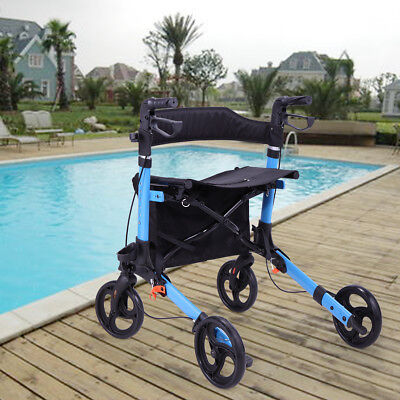 "Foldable Rolling Medical Rollator Walker W/ Curved Back 8"" Wheels Shopping Bag"