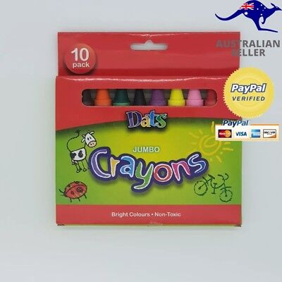 Dats Premium Jumbo Crayons 10 PACK NON TOXIC STATIONARY BACK TO SCHOOL