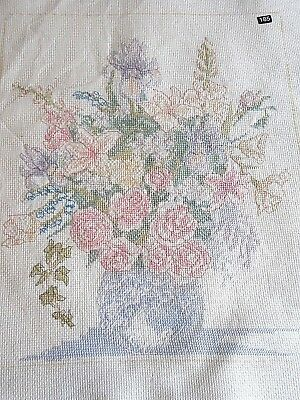 Completed Floral Bouquet Vase Urn Lily Rose Pastels counted cross stitch picture