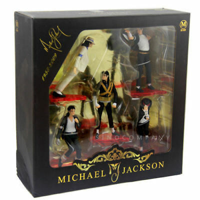 Rare 5PCS/SET MICHAEL JACKSON STATUE KING OF POP MUSIC Figure DOLL Collect Toy