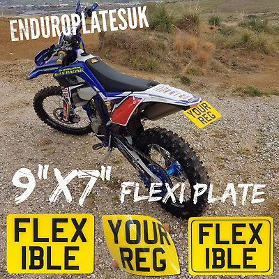 "FLEXIBLE 9x7"" SHOW NUMBER PLATE OFF ROAD KTM EXC ENDURO MOTORCYCLE FLEXI REG"
