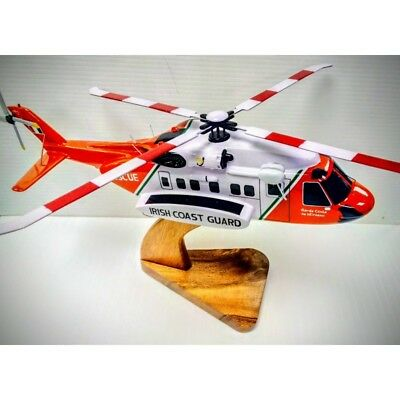 S-92 Irish Coast Guard SAR Search & Rescue  Helicopter . Hand Carved & Painted