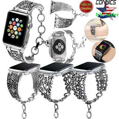 38/42mm iWatch Vintage Chain Strap Band For Apple Watch Series 3-1 Silver Women