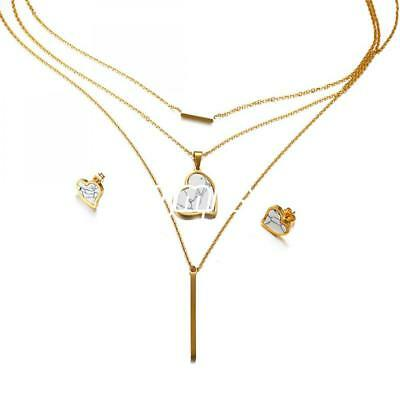 Fashion Gift Women Heart Gold Stainless Steel Jewelry Set Stud Earrings Necklace