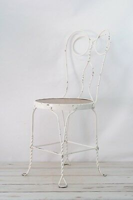 "Vintage White Wrought Iron With Wood Seat Ice Cream Parlor Chair 35"" High"