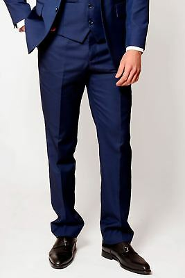 Mens Marc Darcy Trousers Smart Royal Blue Office Flat Front Suit Dress Pants