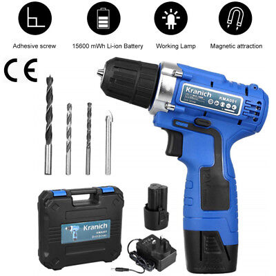 12V Lithium Cordless Drill Driver LED Worklight Screwdriver w/ Battery&Carry Box