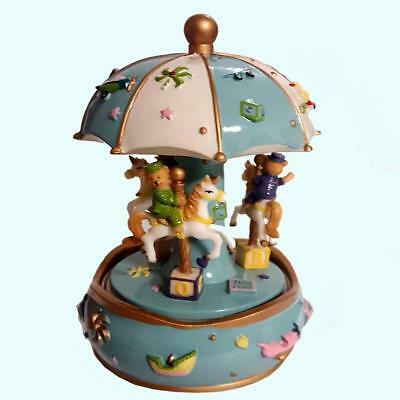 EXQUISITE Musical Carousel 3 Horse Teddy Boy Baby Shower Christening Birthday