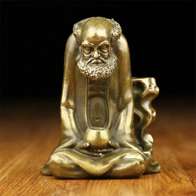 Chinese Old brass statue hand made Dharma Backflow Cone Incense Burners