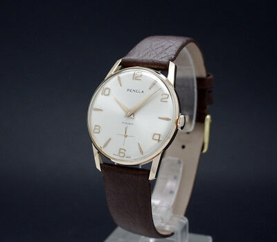 New Old Stock 50s PENELA vintage mechanical watch AS 1130 Wehrmachtswerk Army mt