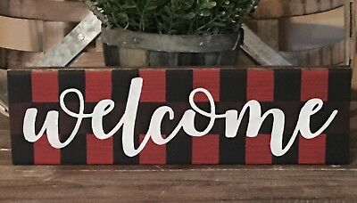 Rustic Wood Sign WELCOME Sign Door Home Decor Porch Farmhouse Buffalo Plaid Red