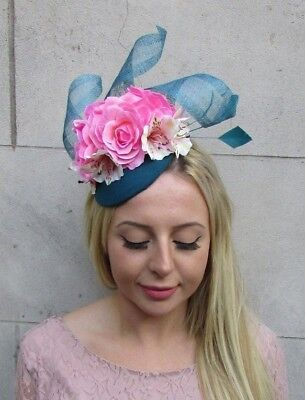 Light Pink Teal Turquoise Blue Rose Flower Feather Hat Fascinator Races 6397
