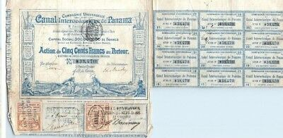 1880 France Canal Interoceanique Panama 500 French Francs Coupon Stock No 438470