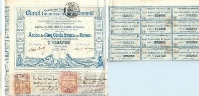 1880 France Canal Interoceanique Panama 500 French Francs Coupon Stock No 325051