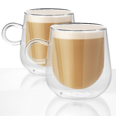 Set of 2 Double Walled Insulated 275ml Mugs | Heat Resistant Coffee Glasses M&W